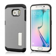 Husa SLIM ARMOR Galaxy S6 EDGE Samsung Silver + Folie protectie display - Husa Telefon, Samsung Galaxy S6 Edge, Argintiu, Gel TPU, Carcasa