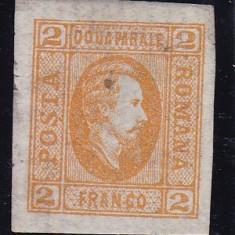ROMANIA 1865, LP 15, A.I. CUZA VAL. 2 PARALE PORTOCALIU, PUNCT IN HARTIE - Timbre Romania, Nestampilat