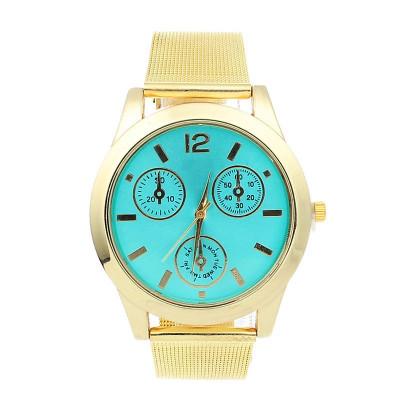 NOU Ceas de dama auriu elegant cu cadran verde si bratara metalica lant tip MK foto
