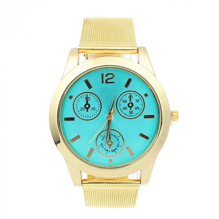 NOU Ceas de dama auriu elegant cu cadran verde si bratara metalica lant tip MK