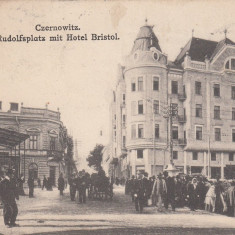BUCOVINA, CERNAUTI, PIATA RUDOLF CU HOTEL BRISTOL, CIRCULATA 1922 - Carte Postala Bucovina dupa 1918, Printata