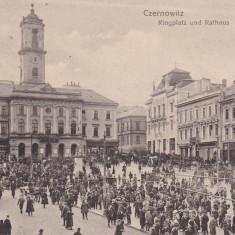 BUCOVINA, CERNAUTI, PRIMARIA SI PIATA, TRAMVAI ELECTRIC, EDITURA LEON KONIG - Carte Postala Bucovina 1904-1918, Circulata, Printata