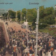 CONSTANTA, DIGUL CASINOULUI SPRE PORT, EDITURA A. TEPOSU SI STEFAN NAPARU - Carte Postala Dobrogea dupa 1918, Circulata, Printata