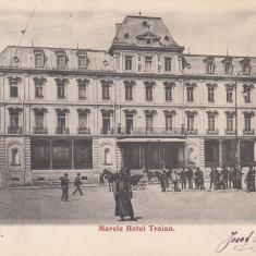 IASI, MARELE HOTEL TRAIAN, CLASICA, CIRCULATA 1904 - Carte Postala Moldova pana la 1904, Printata