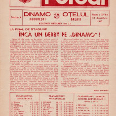 Program meci fotbal DINAMO BUCURESTI - OTELUL GALATI 13.12.1987
