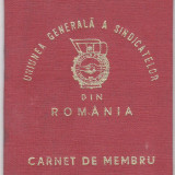 Carnet de Membru Uniunea Generala a Sindicatelor 1967 - Pasaport/Document