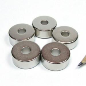 Magnet neodim puternic inel 20 x 06 x 08 mm magnetizare diametrala experimente