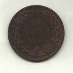 10 BANI 1867 H - Moneda Romania