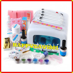 KIT MANICHIURA SET UNGHII FALSE GEL LAMPA 36 W