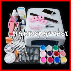 KIT UNGHII FALSE set MANICHIURA 12 GEL UV COLOR LAMPA 36W