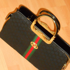 GENTI GUCCI TIP OFFICE /FRANCE/MANERE METALICEINSCRIPTIONATE - Geanta Dama Gucci, Culoare: Negru, Marime: One size
