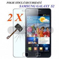 2X FOLIE DE STICLA SAMSUNG GALAXY S2 I9100 PLUS  I9105 TEMPERED GLASS (2 BUC)