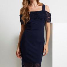 G409-44 Rochie midi eleganta, decorata cu dantela - Rochie ocazie, Marime: M, Bleumarin