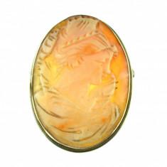 Brosa pandantiv argint camee profil feminin complex, scoica naturala, postbelica