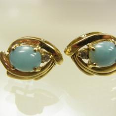 Cercei aur 14k vintage pietre larimar si diamante raritate reducere - Cercei cu diamante