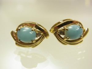Cercei aur 14k vintage pietre larimar raritate