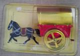Jucarie veche tabla cal calut cu caruta / trasura, in cutia originala sigilata