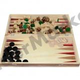 Set joc table si sah din lemn lacuit 26 x 13 cm cu piese incluse - Jocuri Logica si inteligenta