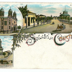 2790 - L i t h o, CONSTANTA - old postcard - unused - Carte Postala Dobrogea pana la 1904, Necirculata, Printata