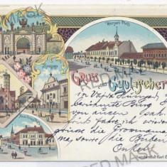 2651 - L i t h o, ALBA-IULIA, Synagogue - old postcard - used - 1898 - Carte Postala Transilvania pana la 1904, Circulata, Printata