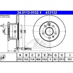 Disc frana VW TRANSPORTER Mk II bus PRODUCATOR ATE 24.0113-0132.1 - Discuri frana