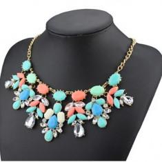 Cel mai nou design de flori de cristal negru pandantiv colier pentru femei - Set bijuterii placate cu aur Energie