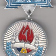 Insigna pioniereasca Pionier de frunte (vopsita, 28 mm diamtru)