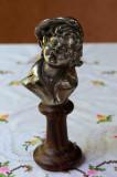 VECHI OBIECT DECORATIV /STATUETA DIN METAL COSITORIT SI LEMN, PELTRO, VAGABOND, Statuete