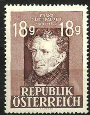 Austria 1947 - POET FRANZ GRILIPARZER , timbru nestampilat AC132 foto