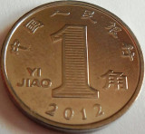 Moneda 1 Yi Jiao - China, anul 2012  *cod 3132  UNC, Asia