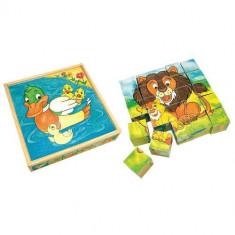 Set Cuburi De Lemn Mama Si Puiul - Puzzle