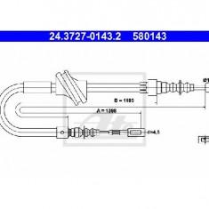 Cablu, frana de parcare AUDI 80 89 89Q 8A B3 PRODUCATOR ATE 24.3727-0143.2
