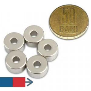 Magnet puternic neodim inel 12 x 04 x 06 mm diametral experimente camp magnetic