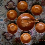 Set pentru salata, 7 piese(1castron+6castronase+1furculita+1lingura), din bambus+ - Bol