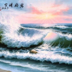 Pictura in acuarela - Seascape - Zhang Yuan 132 Cm x 63 Cm - Pictor strain, Natura, Realism