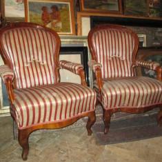 Fotolii antice Louis Philippe, mobilier antic, vechi lemn masiv