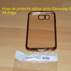 Husa de protectie silicon auriu Samsung Galaxy S6 Edge