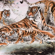 Pictura in acuarela reproducere - Great Tigers  - Liang Xuan 132x63 cm, Natura, Realism