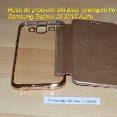 Husa de protectie din piele ecologica tip carte Samsung Galaxy J5 2015 Auriu - Husa Telefon Samsung, Cu clapeta
