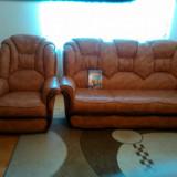 canapea si doua fotolii din piele