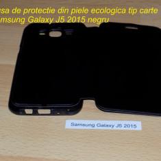Husa de protectie din piele ecologica tip carte Samsung Galaxy J5 2015 negru - Husa Telefon Samsung, Cu clapeta