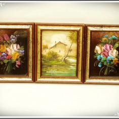 SET 3 TABLOURI MICI ÎN ULEI PE CARTON - ARANJAMENTE FLORALE ȘI PEISAJ, ÎNRĂMATE! - Pictor strain, Flori, Realism