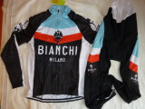 Echipament ciclism Bianchi complet iarna toamna negru set NOU bluza pantaloni, Tricouri