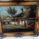 Tablou casa taraneasca semnat Ioan Isac - Pictor roman, Peisaje, Ulei, Impresionism