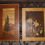 Trei panouri din lemn intarsiat : peisaj  30,5x17, flori 27x20,5,cocori 47x35cm.