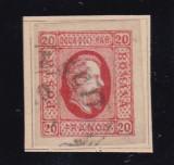 ROMANIA 1865 ,  LP 17 , A. I. CUZA  VALOAREA  20  PARALE  STAMPILAT