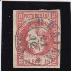 ROMANIA 1868, LP 24, CAROL I CU FAVORITI VAL. 18 BANI ROSU STAMPILA BRAILA - Timbre Romania, Stampilat