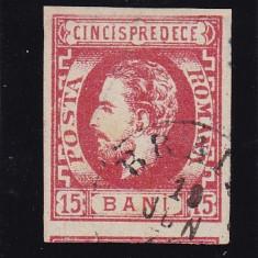 ROMANIA 1872 LP 32 CAROL I CU BARBA 15 BANI ROSU STAMP. BRAILA POINCON PASCANU - Timbre Romania, Stampilat
