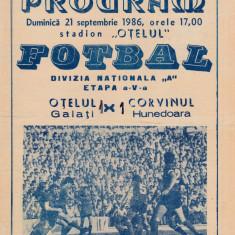 Program meci fotbal OTELUL GALATI - CORVINUL HUNEDOARA 21.09.1986