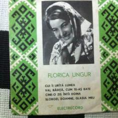 Florica ungur disc single vinyl Muzica Populara electrecord folclor romanesc, VINIL